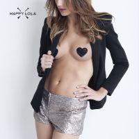 Brusthütchen Herz von Happy Lola - 2 Paar rot und schwarz - sexy Pasties'